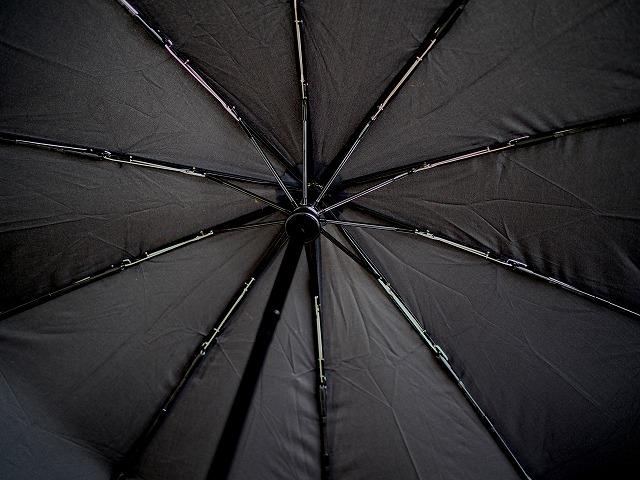 自動開閉ボタン付きの折りたたみ日傘 開いた様子