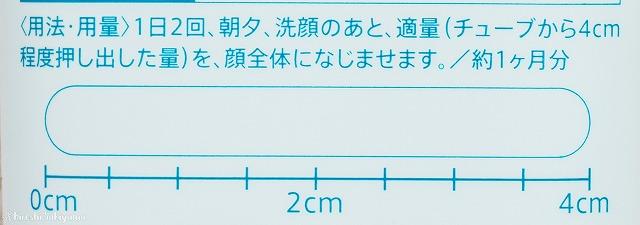 シズカゲルのパッケージの裏側、用法用量とどれくらい出したらいいかの目安(4cm程度)が書かれている