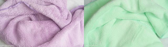 シービージャパン 速乾ヘアドライタオル マイクロファイバー カラリ carariとハホニコ ヘアドライマイクロファイバータオル(美容師さんが考えた髪のためのタオル)の柔らかい手触り